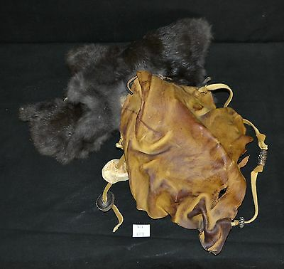 ThriftCHI ~ Native American Animal Hide & Fur Mask w Shell and Antler Accents