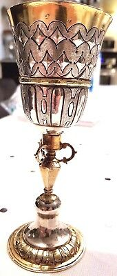 18Th Century Gilded Silver Wine Goblet Antique Germany