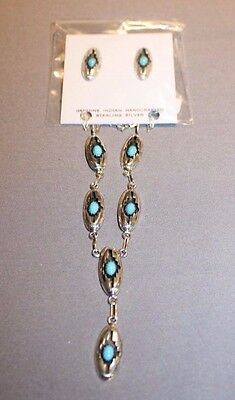 Navajo sterling silver shadow box necklace and matching earrings by Felix Perry