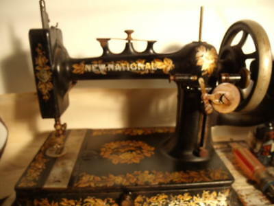 Rare New Home New National Hand Crank Sewing Machine.