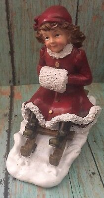 Gerson Girl On Sled Resin Figurine Old Fashioned Red Coat Holiday Winter Xmas
