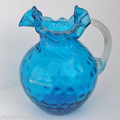 Vintage Depression glass Pitcher Blue Dot Optic Reeded Handle Ruffled