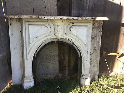 Antique Cast Iron Fireplace with Mantle