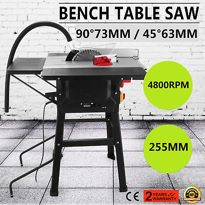 255mm Table Saw with 3 Extensions & Leg Stand  638 x 420mm Bench saw High Power