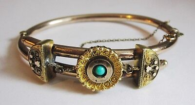 """Antique Victorian Rose Gold Filled & Turquoise Hinged Bypass Bracelet 6 5/8"""" 22G"""