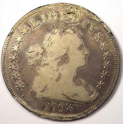 1798 Draped Bust Silver Dollar $1 - VG Details (Very Good) - Rare Type Coin!