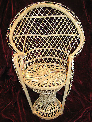 "Doll or Teddy Size Victorian Wicker Wing Back Basket Chair  16"" Tall New"