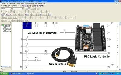 PLC Controller, Programming Ladder Logic Software w Bonus Training Course DIn PS