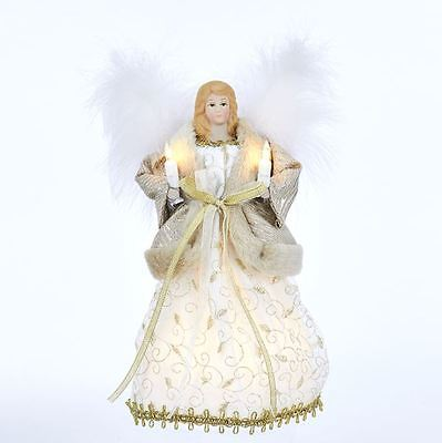 "ANGEL Light Up TREE TOP Gold and Ivory 10"" NEW Beautiful Christmas NEW"