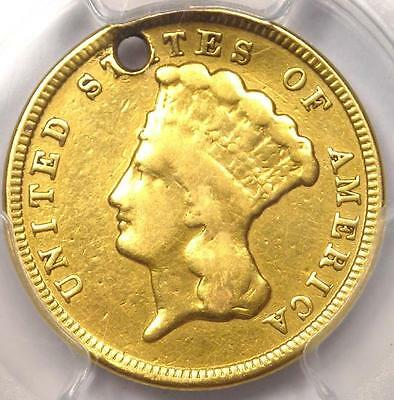 1854 Three Dollar Indian Gold Piece $3 - PCGS VF Details (Holed) - Rare Coin