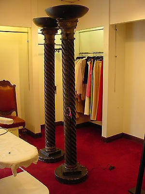 Set of 2 COLUMNS wood lighted LIGHTS architectural interest decorative Pillars