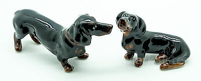 Figurine Animal Ceramic Statue 2 Black Dachshund Dog - CDG174