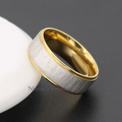 TITANIUM Surgical Steel Golden Edge Comfort Fit Wedding Band Ring RM32