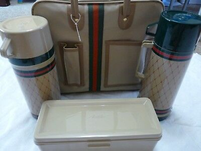 NEW Vintage Aladdin Voyager Picnic Set Hot Cold Thermos Bag Case Old Bottle Pair