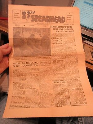 83rd Spearhead Belgium Newspaper 3rd Armored Infantry Division Newspaper WWII