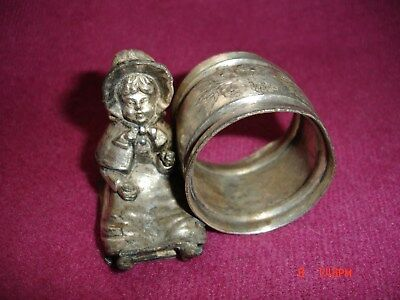 Derby Silver Co. Girl Sitting Silverplate Figural Napkin Ring