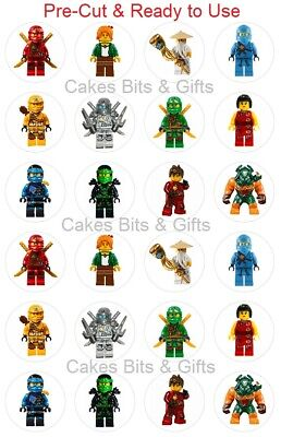24x LEGO NINJAGO MIX Edible Wafer Cupcake Cake Toppers Pre Cut & Ready to Use.