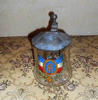 Vintage Antiques French Flag Decorated Glass Beer Mug Stein With Pewter Lid Nice