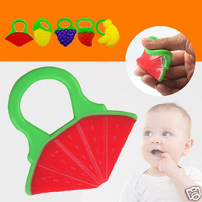 1x Health Silicone Baby Infant Teething Fruit Shaped Chewie Teether Ring Random