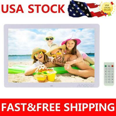 "17"" LED 1080P Digital Photo Picture Frame Alarm Clock MP3/4 Remote Control A0N9"