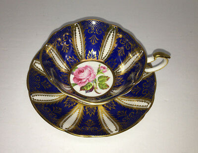 PARAGON Cup/Saucer RARE Cobalt Blue Gold Rose App by Her Majesty the Queen