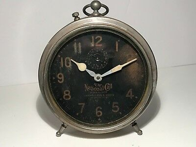 VINTAGE  THE NATIONAL CALL 8 DAY WIND-UP METAL ALARM CLARK - Works!
