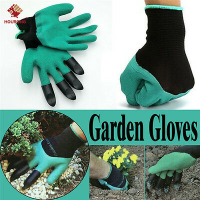 1 Pair Garden Gloves Digging Planting 4 ABS Plastic Claws Gardening Gloves Tool