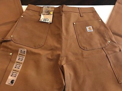 Carhartt Firm Duck Double Front Work Dungaree 36X34 Loose Original Fit Brown