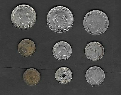 Spain - 9 Mixed Coins Lot - Nice Starter Set
