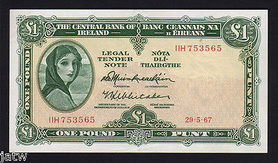 IRELAND  P-64a. 1967 One Pound..  aU-UNC