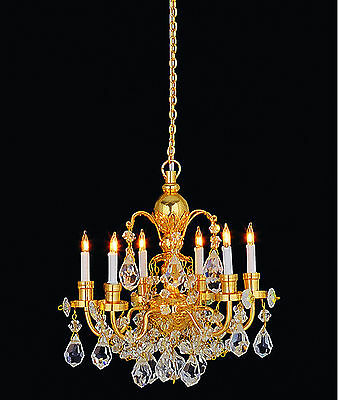 1:12 Scale Real Crystal Gold Colour 6 Arm Chandelier Dolls House Miniature 7001B