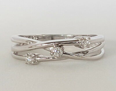 """9CT WHITE GOLD CLAW SET DIAMOND CROSS OVER DRESS RING """" SIZE P """" Gr8 Size"""
