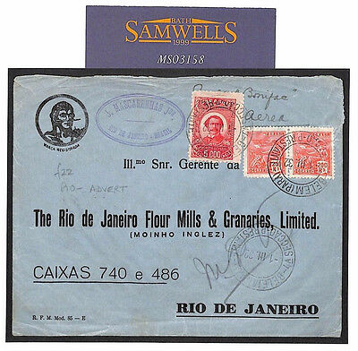 MS3158 1932 BRAZIL AIRMAIL Advert Cover Argentina SEE REVERSE Flour Mills