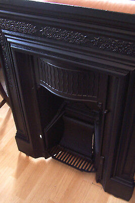 Victorian cast iron fireplace insert surround ornate floral ivy NO RESERVE !!!
