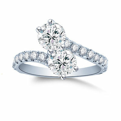 Forever Us 2.00 CT Round Diamond Solitaire Ring 14K White Gold Over  Fine EDH