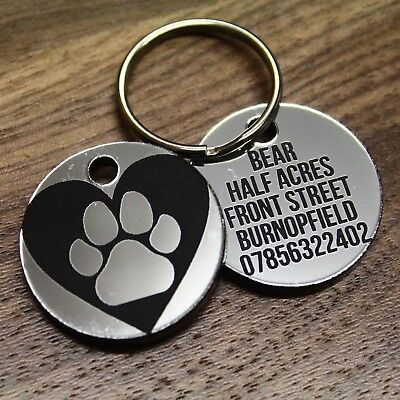 Heart Disc Dog Tag ID Pet Engraved Name Cat Tags Personalised Paw Print