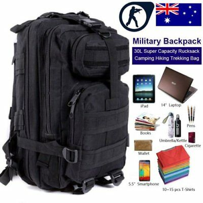 30L Military Tactical Backpack Molle Rucksacks Camping Hiking Trekking Bag AUBG