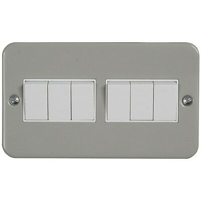 10A 6 Gang 2 Way Light Switch - Metal Clad With Back Box
