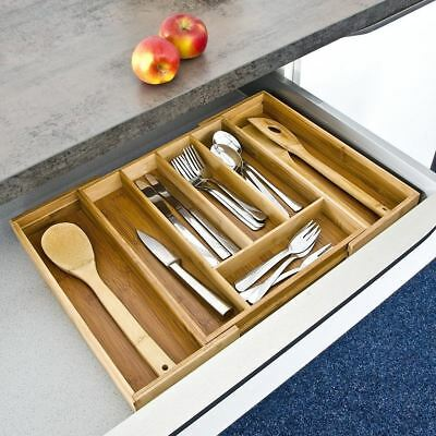 New Taylor & Brown Bamboo Cutlery Tray With 7 Sections - Width 31-48.5cm
