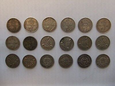 Silver threepence 3d Various dates - three pence coins Scrap or collectable