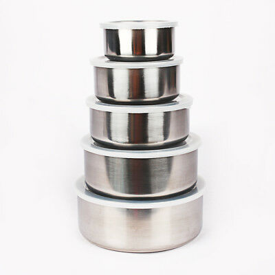 Stainless Steel Mixing or Food Bowl Set with lids Set of 5 Bowls Freezer Safe