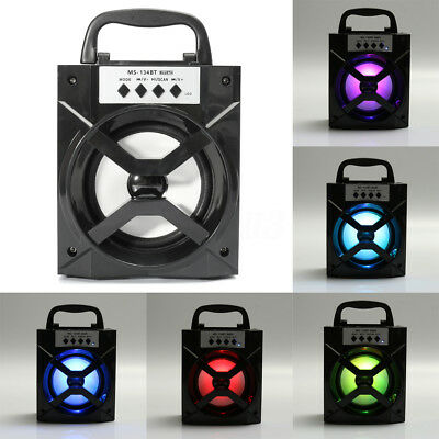 Portable Bluetooth Rechargable LED Speaker Stereo Super Bass USB TF AUX FM Radio