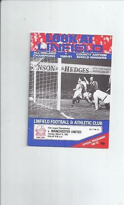 Linfield v Manchester United Friendly Football Programme 1981/82