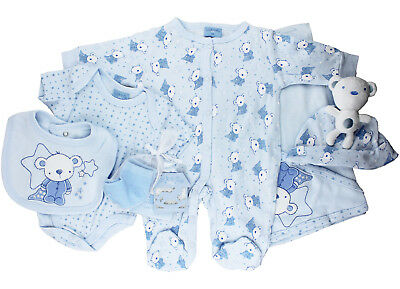 Baby Boys 7 Piece Teddy Clothing Layette Gift Set (Newborn - 6 Months)