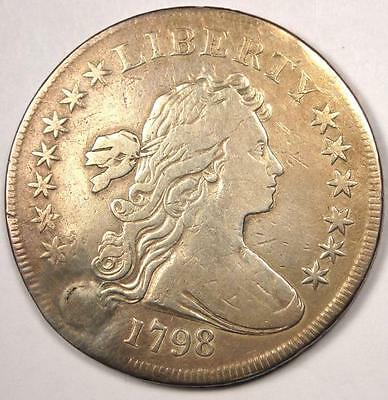 1798 SMALL Eagle Draped Bust Silver Dollar $1 - Very Fine Details (VF) - Rare!