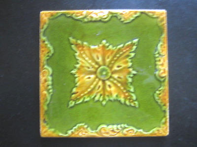 Victorian Green Wall  Tile   Raised Pattern 6X6 Unches