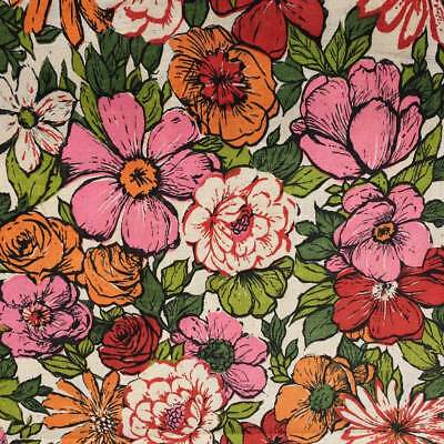 110cm x 50cm Genuine Vintage Retro Floral Flower Power Orange Pink Red Fabric