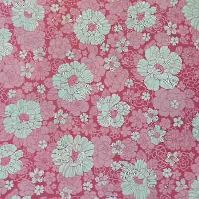 112cm x 60cm Genuine Vintage Pink Retro Floral Sheeting Fabric, Cushions, Quilts
