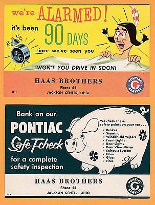 1940s Pontiac Service at Haas Brothers, Jackson Center Ohio OH, Lot 2 cards