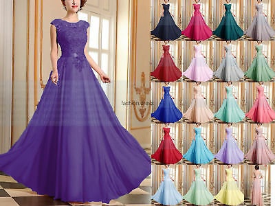 Long Lace Chiffon Evening Formal Party Ball Gown Prom Bridesmaid Dress Size 6~24